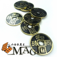 5pcs japanese chinese coins morgan coin size / close-up stage street floating magic tricks products toys(China)