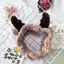 New 1 PC Women's Fashion Christmas Elk Horn Coral Velvet Hairband Adult Cute Soft comfortable Makeup Accessories 2 Colors(China)