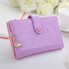 New arrive women purse bag,PU leather women medium wallets with coin pocket,solid color classic argyle plaid design,heart hasp.