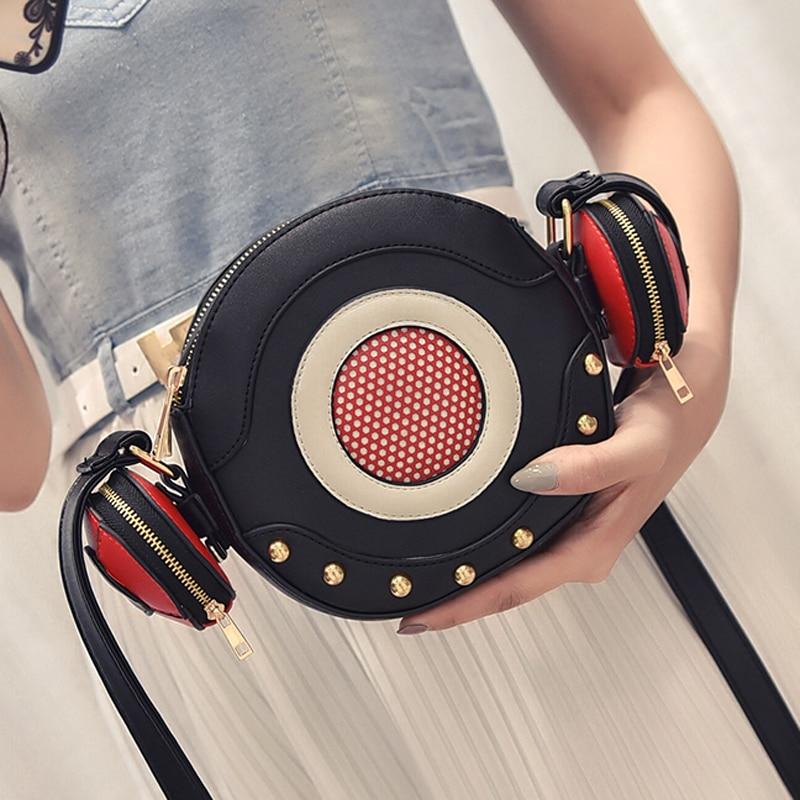 2017 Fun personality lovely modeling mini microphone headset rivet pu leaather shoulder bag ladies handbag messenger bag flap<br><br>Aliexpress