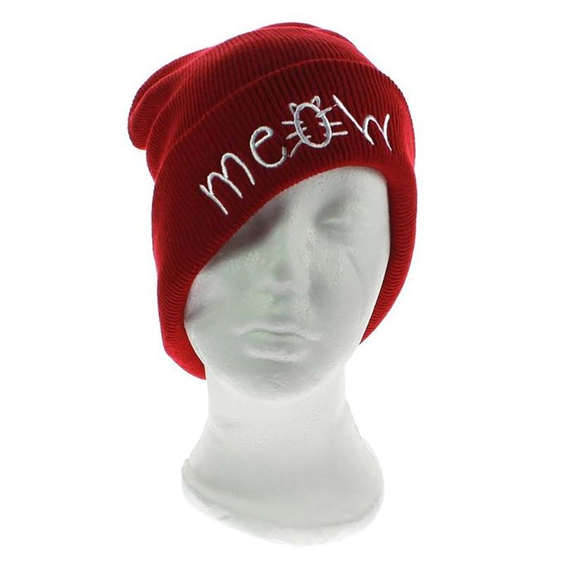 Hip-hop Knitted Hats for Men and Women with MEOW Embroidery Winter Caps Outdoor Ski Skullies &amp; Beanies Unisex Solid Color HatÎäåæäà è àêñåññóàðû<br><br><br>Aliexpress
