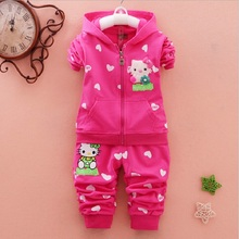 Casual Sport Hoodied Suit Children Cardigan Sweaters+Pant Set Spring Autumn Baby Girls Clothes Set Hello Kitty Kid Clothing Set