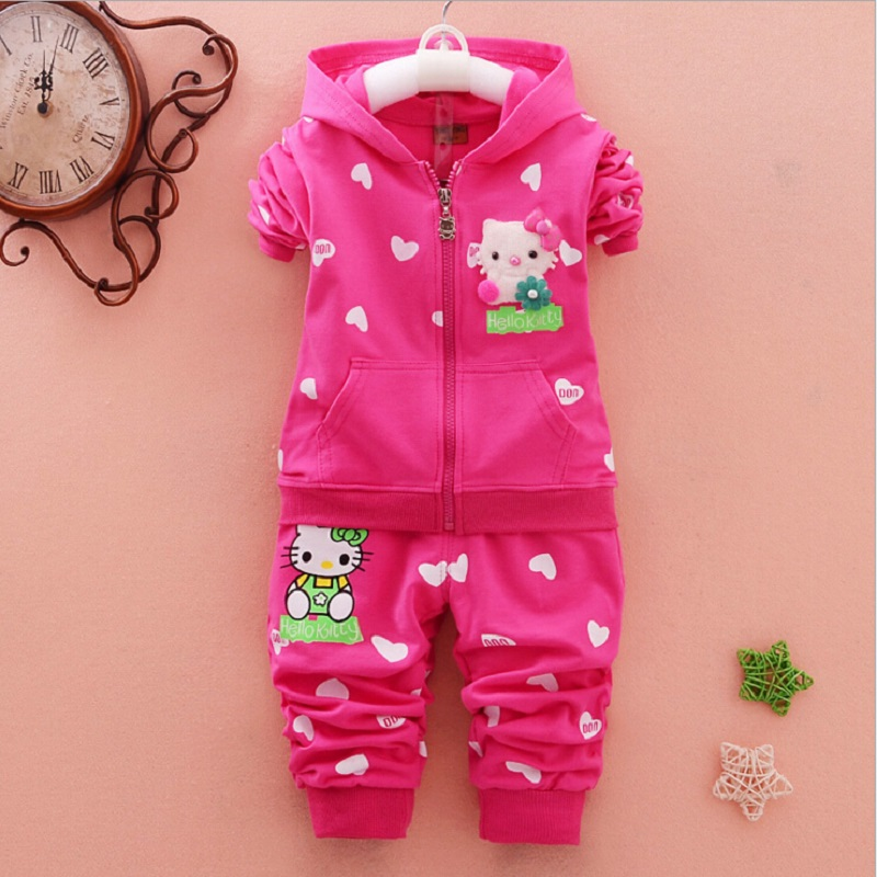 Casual Sport Hoodied Suit Children Cardigan Sweaters+Pant Set Spring Autumn Baby Girls Clothes Set Hello Kitty Kid Clothing Set(China)
