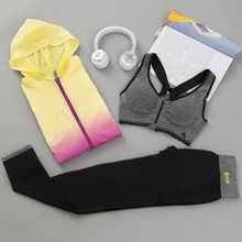 Women's 3 Pieces Sport Suit Yoga Set Hooded Jacket & Bra & Pans Women Gym Workout Sport Wear Female Tracksuit