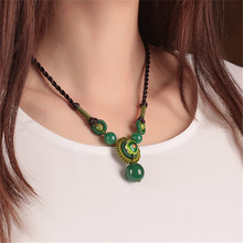 Green cloisonne necklace Imitation stone ethical wind restoring ancient ways of clavicle short chain original manual accessories