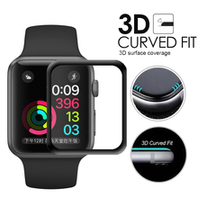 For iWatch Plating Tempered Glass For Apple Watch 38mm 42mm Series 2 1 Full Cover 3D Curved Black Edge Screen Protector Film