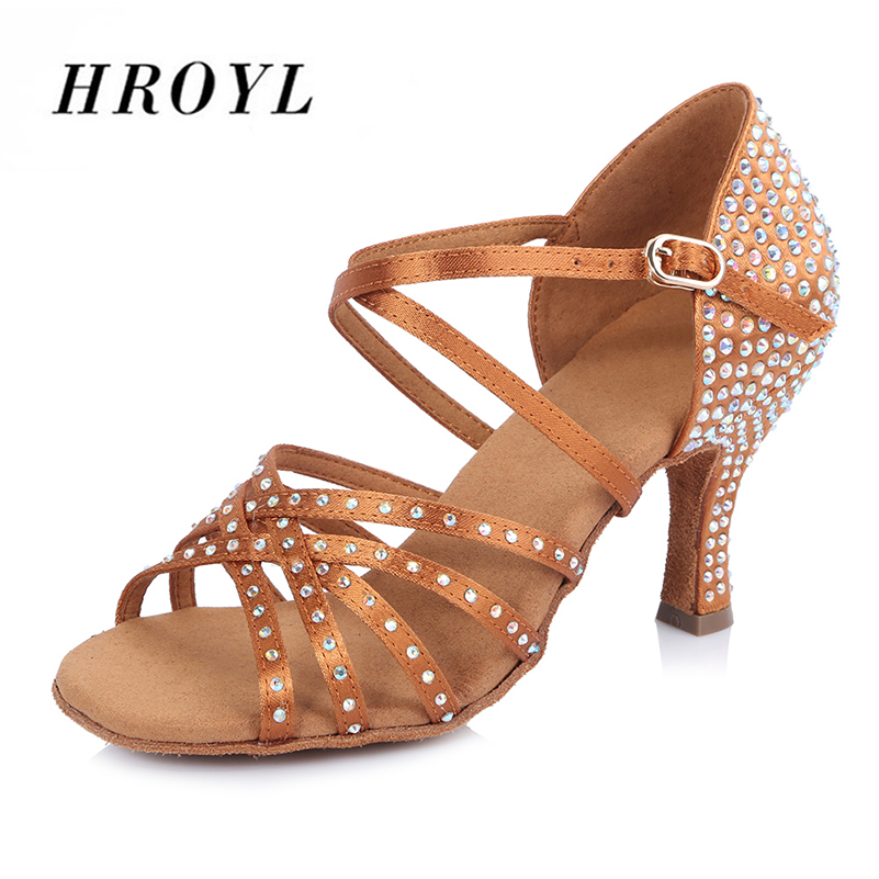 High quality Satin Latin dancing shoes Womens Rhinestone shoes Ballroom dancing shoes  High heels<br>