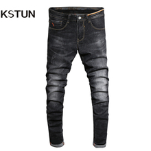 2017 Autumn Jeans Men Black Skinny Denim Pants Fashion Desinger Clothing Cotton High Stretch Slim Fit Long Trousers Man Homme 38(China)