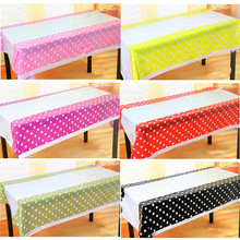 Cheap Polka Dot Plastic Table Cloth Kids Birthday Party Decoration Baby Shower Decoration Supplies Disposable Tablecloth W(China)