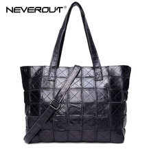 NeverOut Brand Name Bag Sheepskin Casual Tote Women Handbags Top-Handle Bags Real Leather Patchwork Style Lady Tote Shoulder Sac(China)