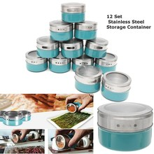 12PCS Magnetic Spice Tin Jars Stainless Steel Seasoning Sauce Storage Container Clear Lid Kitchen Condiment Holder Kitchenware