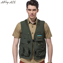 AKing ACE 2017 Mens vests with pockets Sleeveless Military Vest Men Jacket Mesh Breathable Army Waistcoat M - 4XL ZA321 45(China)
