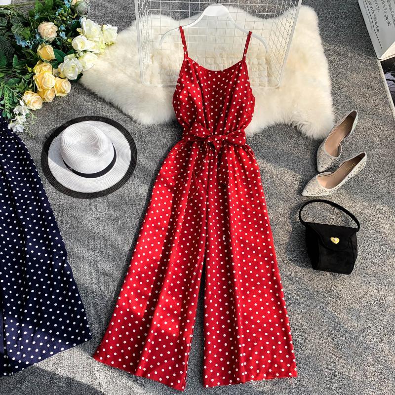 Holiday Retro Dot Print V Collar Sleeveless High Waist Broad-legged Overalls Beach Rompers Womens Jumpsuit E521 8 Online shopping Bangladesh