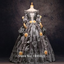 Gray Court Dress Gray Hallowmas Medieval Dress Renaissance Costume Victorian Gothic Marie Antoinette Prom Dresses