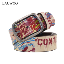 LAUWOO 2017 Unisex leather belt Letters printed paint Strap vintage handmade genuine leather belt jeans retro Buckle Belt