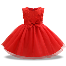 Infant Baptism flower Girl Dresses Children Summer occasion Princess kids Wedding 0-2 Year Birthday party Dress Big Bow toddler(China)