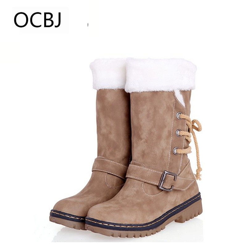 European PU Leather With Fur Women Snow Boots Buckle Cross Straps Winter Boots Calcados Femininos Bota De Neve Size 34-35<br>