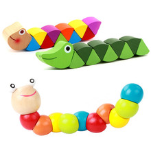 Colorful Wooden Worm Puzzles Kids Educational Baby Toys Insect Fingers Flexible Training Twisting Game for Children Gift(China)