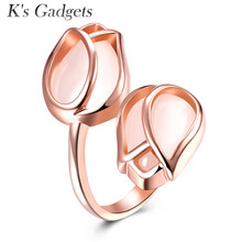 K'S Gadgets 2017 NEW Fashion Rose Gold White Cat Eye Tulip Ring Jewelry For Women Engagement Ring Anel Feminino(China)