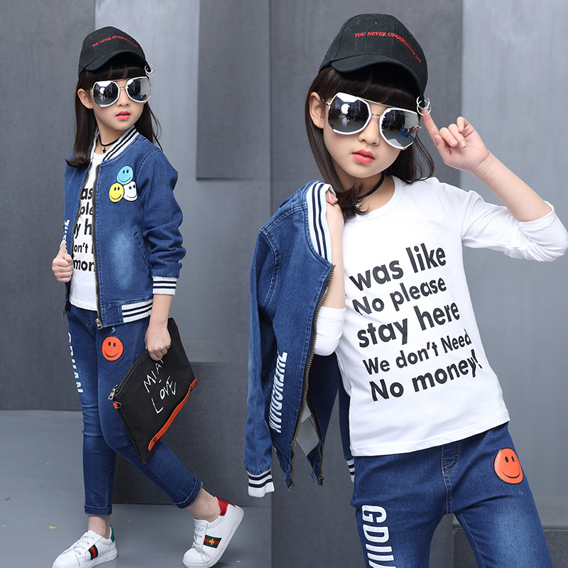 Autumn New Product Girl Smiling Face Cowboy Two Pieces Cowboy Suit Zipper Unlined Upper Garment Kids Clothing Sets<br>