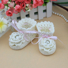 - baby crochet shoes Handmade baby shoes Pre-walker Hand Knitted Cotton baby soft 0-12M baby shoes(China)