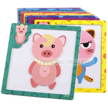 Magnetic Wooden Puzzle Toys for Children Educational Wooden Toys Cartoon Animals Puzzles Table Kids Games Juguetes Educativos(China)