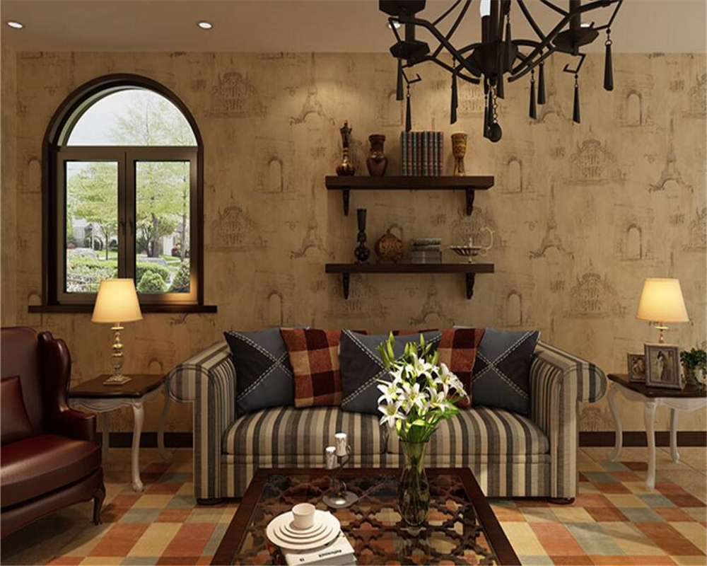 beibehang American Village Retro Nostalgic Wallpaper French Tower papel de parede 3d Wallpaper Living Room Bar Coffee Background<br>