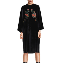 Buy 2017 winter dress casual loose long dress black womens clothing embroidery velvet dress long sleeve women dress for $19.04 in AliExpress store