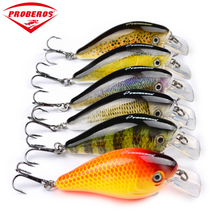 "6pcs Proberos Brand Fishing lure 3""-7.6cm Fishing Bait 12.75g Crankbait 6 Color Fishing Tackle 6# Hook"