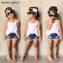 Hot Summer girls Suit Kids Baby Girls Outfits Set Tank Top T-shirt Dress+Jeans Pants Clothes Dropshipping F20