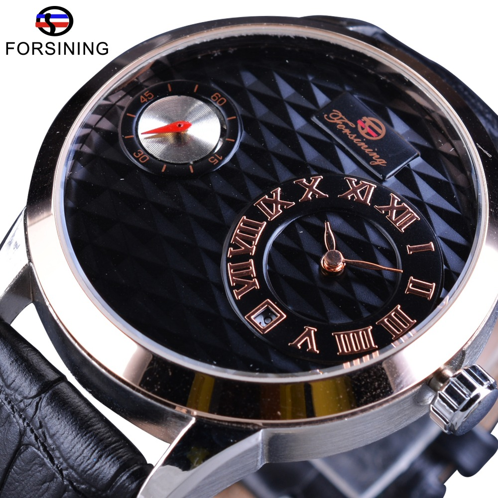 Forsining Fashion Obscure Design Genuine Leather Date Display Uhren Mens Automatic Mechanical Wrist Watch Men Top Brand Luxury<br>