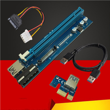 60cm PCI-E Express 1X To 16X Riser Card Extender Adapter USB 3.0 Data Cable 4Pin + SATA 15Pin Power Supply For BTC Miner Mining