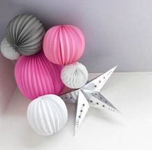 (Pink,Grey,White) Party Decoration Set Pleated Paper Lanterns,Stars Honeycomb Balls Wedding Showers Birthday Hanging Decor(China)