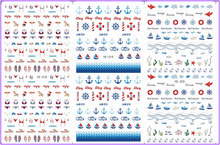 3 PACK/ LOT WATER TRANSFER DECAL NAIL ART NAIL STICKER MARINE BEACH ANCHOR BOAT FISH YE318-320