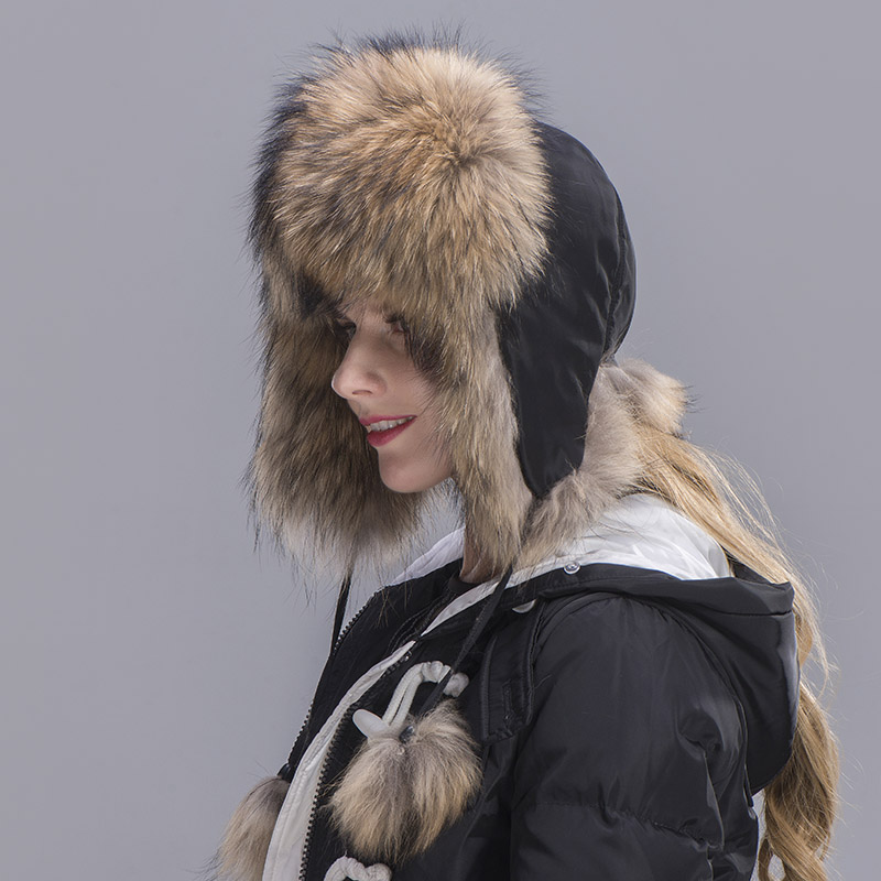 raccoon fur hat woman 3