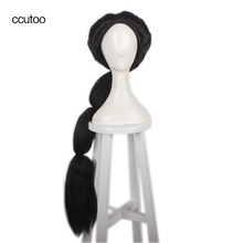 ccutoo Black Long Braid Styled Slicked Back High Temperature Fiber Synthetic Hair Cosplay Costume Wigs Aladdin Jasmine princess(China)