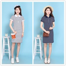 Simple Style Striped Pure Cotton Polo 2017 Print Party Casual Dresses T Shirt Femme Summer Evening Robe Women