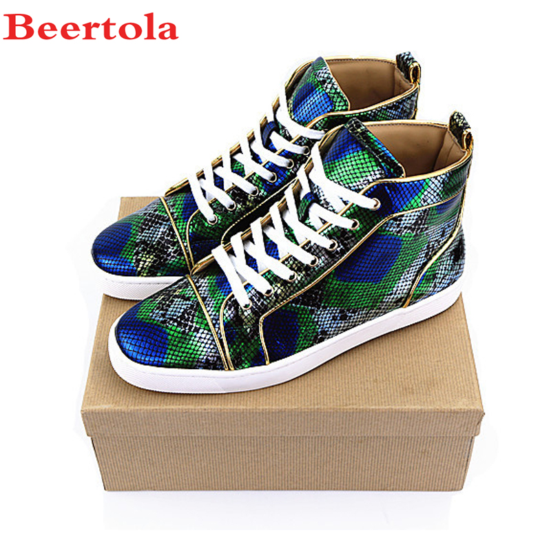 Beertola 2018 Top Fashion Snakeskin Designers Men Shoes Rivets Mixed Colors  Round Toe Flats Shoes Lace-up Casuals Shoes For Man ... 96aaf615691c