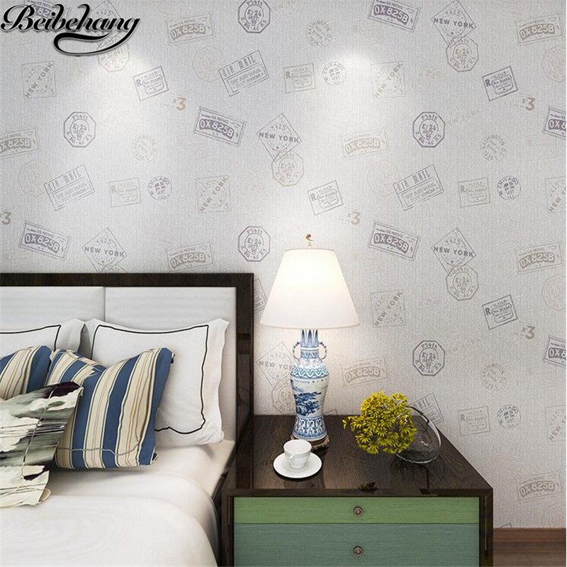 beibehang British postmark non - woven wallpaper modern simple children s room male and female bedroom relief relief wallpaper<br>