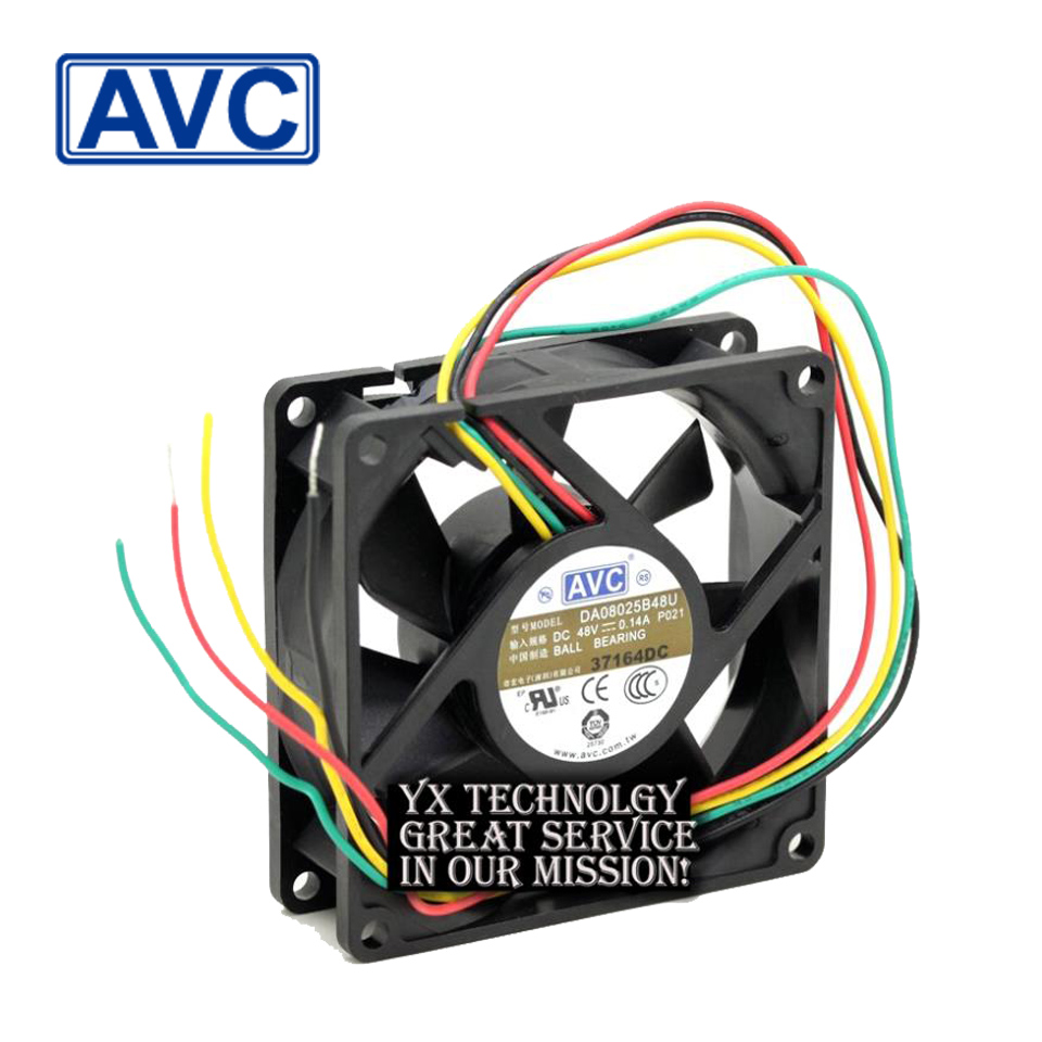 AVC P021 DC48V 0.14A DA08025B48U  4-wire  server inverter industrial case cooling fans 80x80x25mm<br>