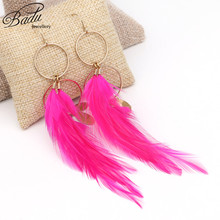Badu Handmade Real Long Feathers Vintage Indian Style Long Round Dangle Earrings for Women Christmas Party Jewelry Gift Fashion