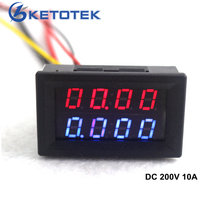 Digital DC Voltmeter Ammeter DC 200V 10A Voltage Current Meter Power Supply DC4V-28V Red Blue LED Dual Display(China)