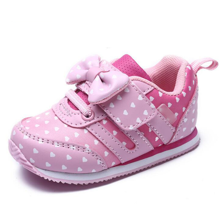 17 Autumn girl running sports shoes heart print black pink bowknot baby girls shoes Children casual Sneaker kid soft gym shoes 9