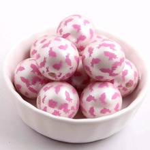 Pastel 100pcs Acrylic Matte Imitation pearl Print easter bunny 20mm Beads For Kids Necklaces Fashion Jewelry(China)