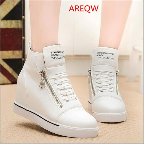 The new autumn and winter new PU leather boots loose bottom thick end of the increase in low-end womens fashion models Mar<br><br>Aliexpress