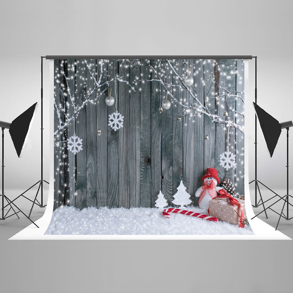 Kate Christmas Background Photography Christmas Gifts Wood Wall No Wrinkle Seamless Cotton Bokeh Backdrops for Photography <br>