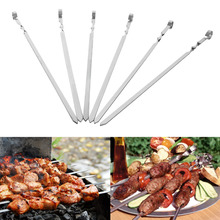 6PCS 50cm Stainless Steel Barbecue Grill Skewer Needle Tool BBQ Sticks for Camping Picnic Barbecue Accessories