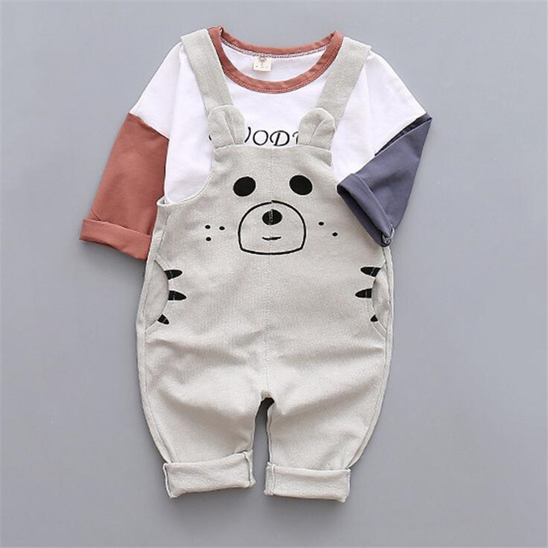 European and American style 2016 baby boy clothing sets fashion t-shirt and suspenders pants for spring and autumn<br><br>Aliexpress
