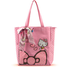 Large Space Women Canvas Handbag Zipper Shopping Shoulder Bag Paris Hello Kitty Pattern Girls Beach Bookbag Casual Tote