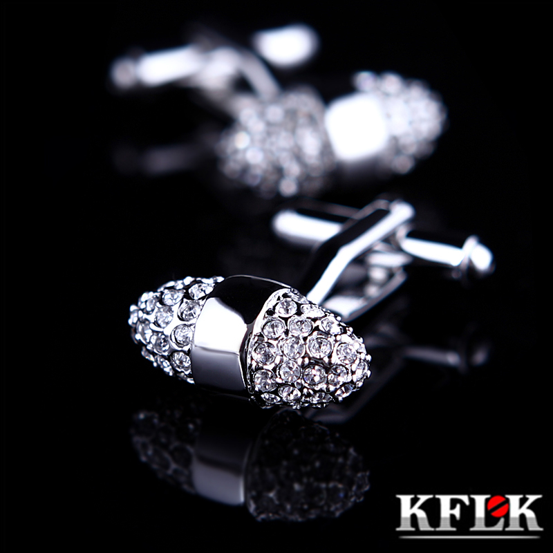 KFLK Jewelry Brand Silver Cuff links Wholesale Buttons Luxury Wedding High Quality shirt cufflinks for mens sale Free Shipping